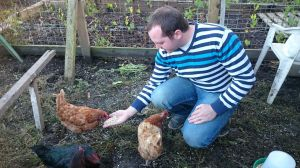 Man feeding chickens